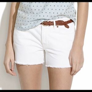 Madewell White Denim Frayed Cut Offs Size 32